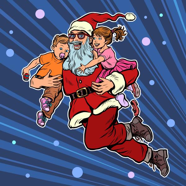 weihnachtsmann mit kindern weihnachten und neujahr