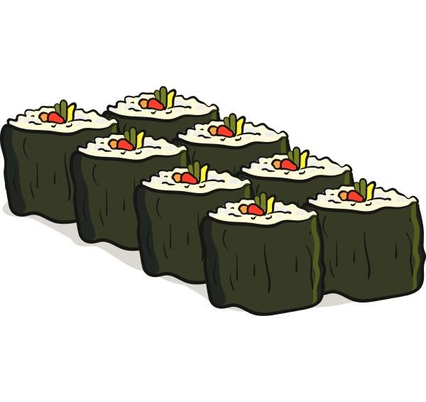 clipart von acht veganen sushi vektor
