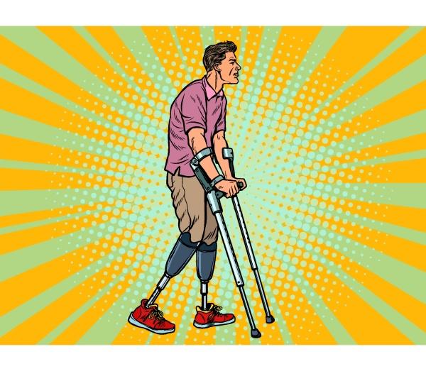 beinloser veteran mit bionischer prothese mit