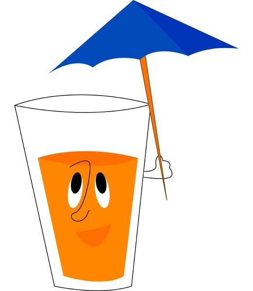 eine karikatur eines glases mit orangensaft