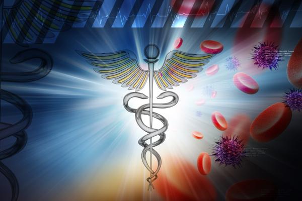 medizinisches, symbol, mit, blutzellen, und, virus - 27525160