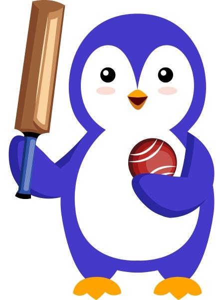 pinguin mit cricket schlaeger illustration vektor