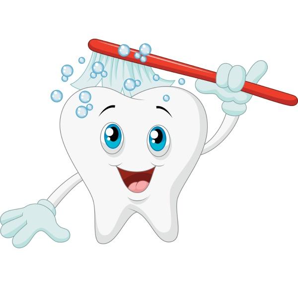 laechelnder zahn mit zahnbuerste