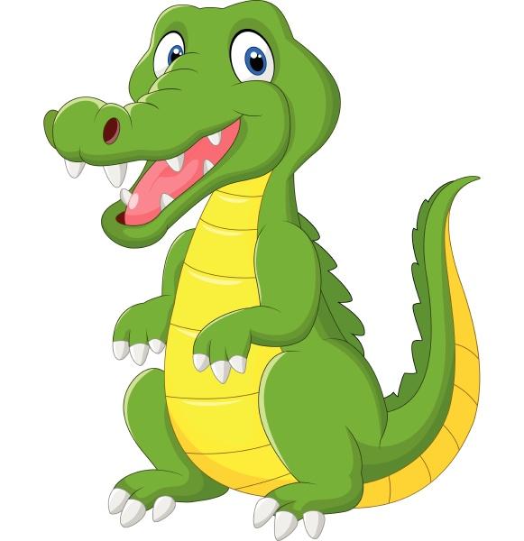 cartoon lustige krokodil isoliert auf weissem