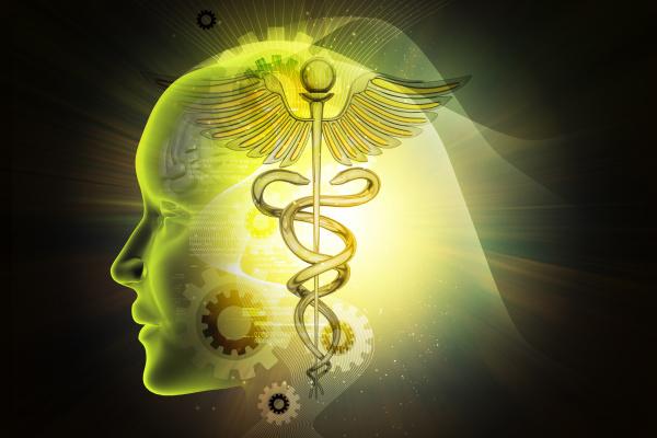 weibliches gesicht mit medizinischem symbol