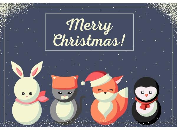 weihnachtskarte, mit, niedlichen, tieren - 27623593