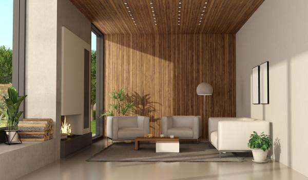 minimalistisches wohnzimmer einer modernen villa mit