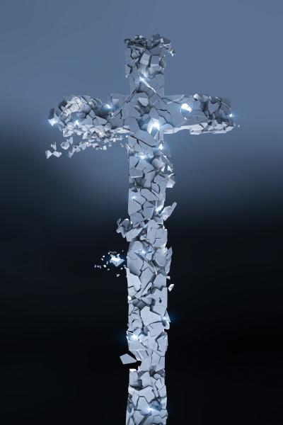 christliches steinkreuz das in viele stuecke