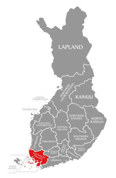 suedwestfinnland rot hervorgehoben in finnland karte