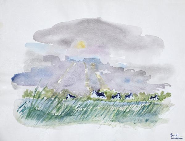 sonne filtert durch graue wolken im