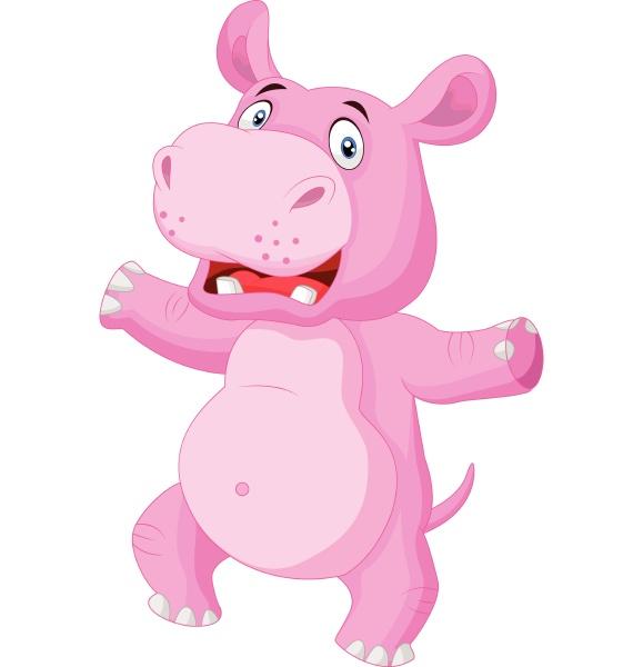 cartoon gluecklich hippo tanzen auf weissem
