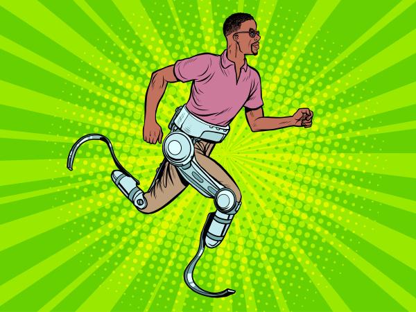behinderter afrikanischer mann der mit beinprothesen