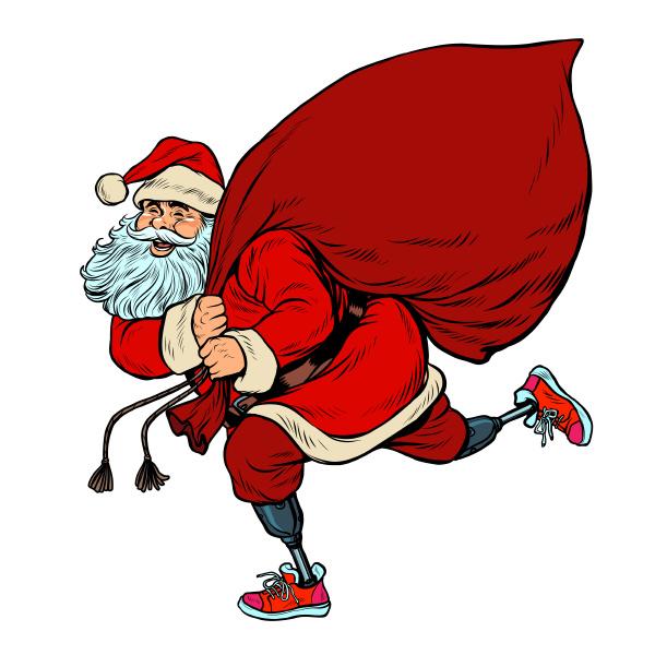 weihnachtsmann behindert auf prothesen liefert geschenke