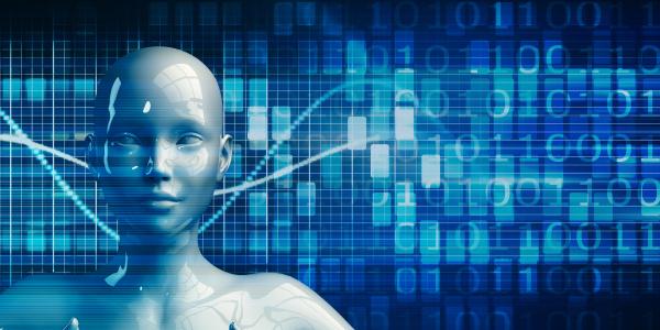 weiblicher roboter mit data analytics technologie