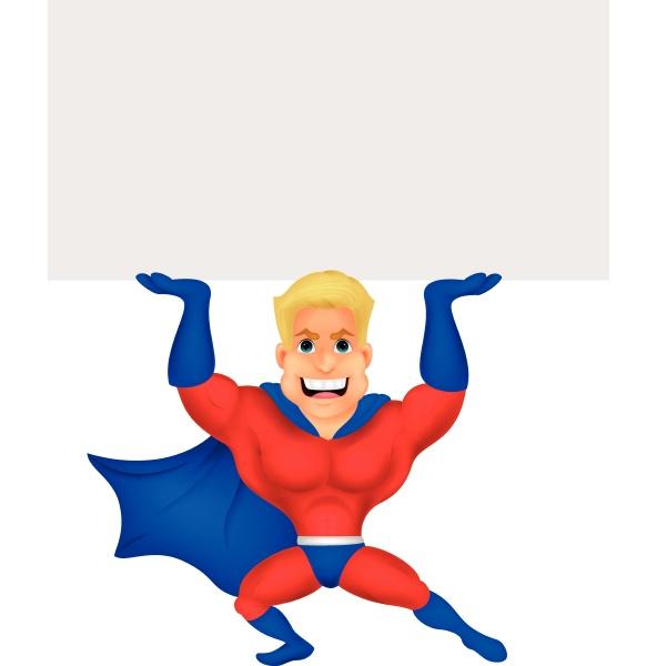 superhelden cartoon mit leerem zeichen