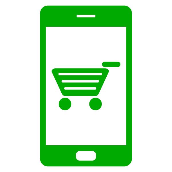einkaufswagen und smartphone