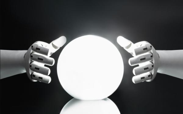 roboter sagt zukunft mit kristallkugel voraus