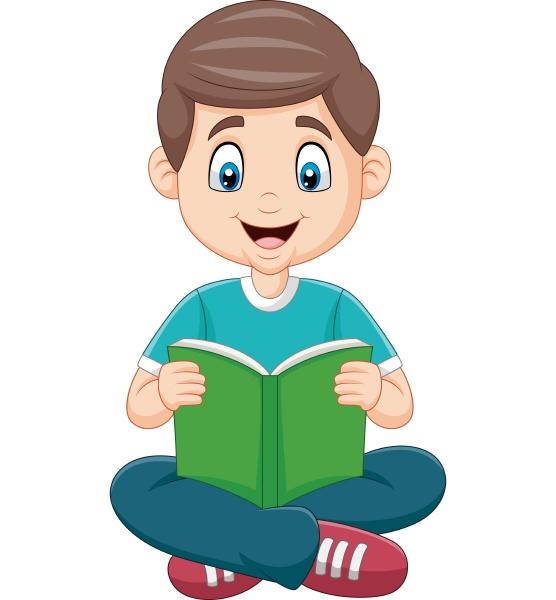 cartoon junge der ein buch liest
