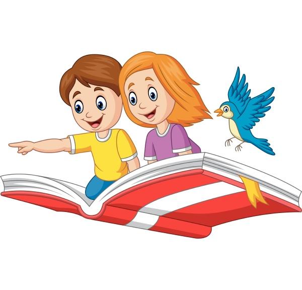 junge und maedchen fliegen auf einem