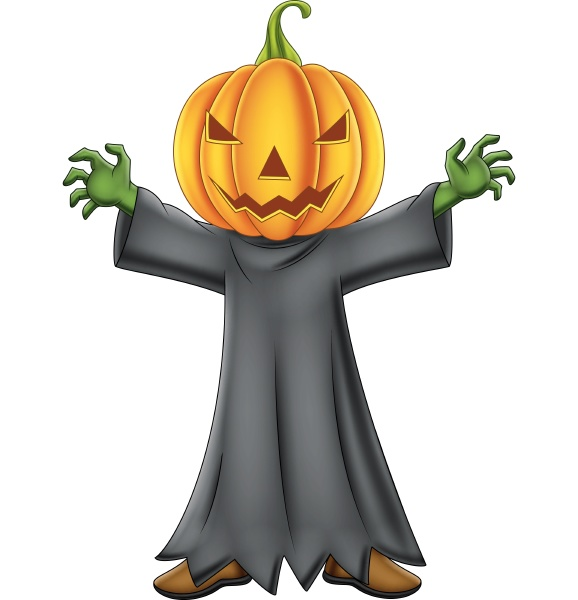 cartoon kind mit halloween kuerbis kostuem