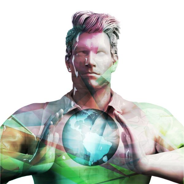 nordic business man holding globe