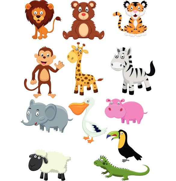 wildtier cartoon kollektion set