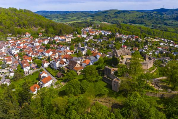 deutschland hessen lindenfels luftaufnahme der mittelalterlichen