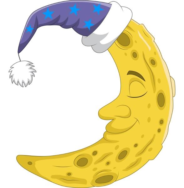 niedlicher halbmond mit schlafmuetze