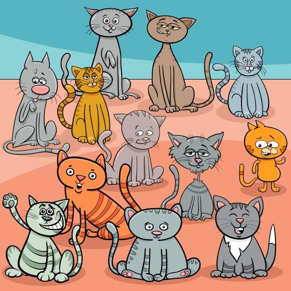 lustige katzen gruppe cartoon illustration