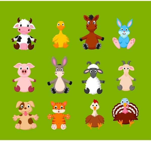 cartoon set von niedlichen nutztieren