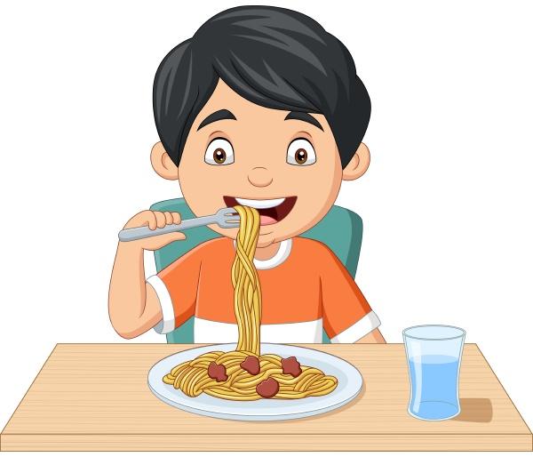 cartoon kleiner junge beim spaghetti essen