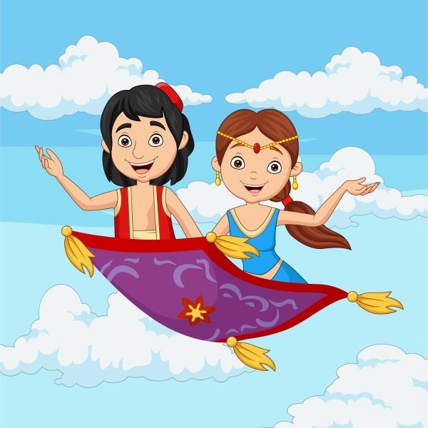 cartoon aladdin und jasmin reisen auf