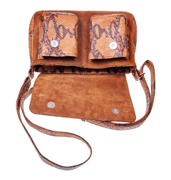 leere braune handtasche handgefertigt aus naturleder