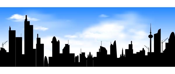 skyline der stadt auf blauem himmel