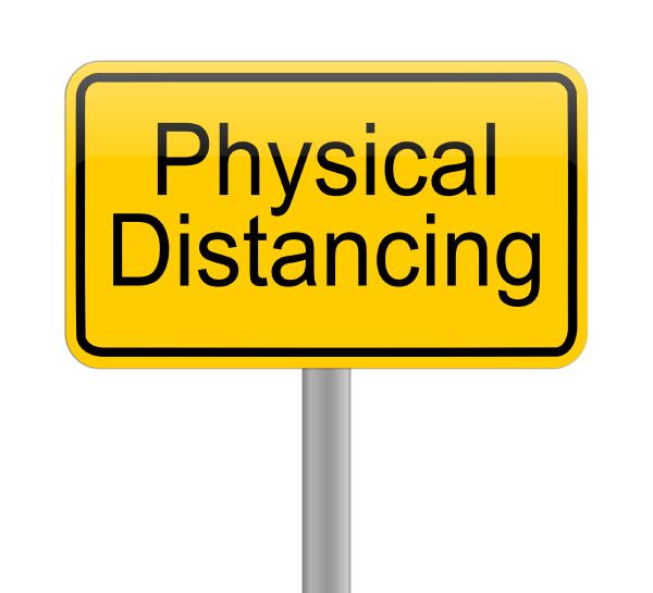 physical, distancing, auf, gelbem, schild, - - 28217815