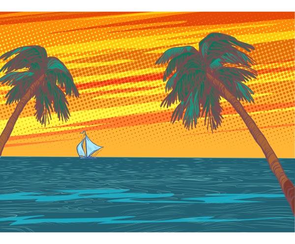 sonnenuntergang beach resort palmen meer