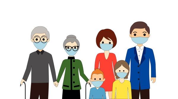 familie traegt medizinische schutzmaske zur vorbeugung