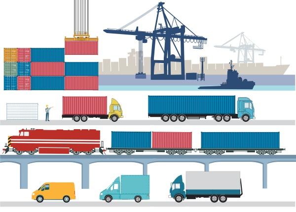 handelshafen mit gueterzug lkw und containerschiff