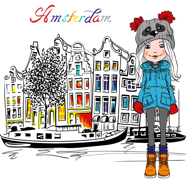 vektor schoene mode maedchen in amsterdam