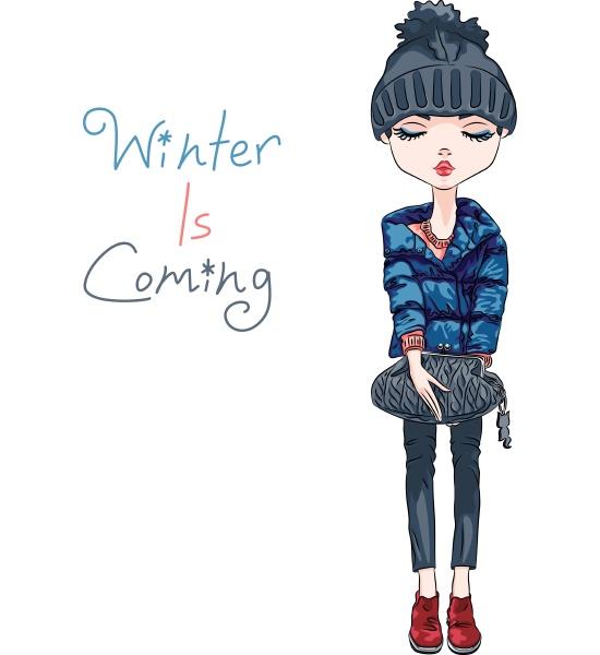 vektor mode maedchen in winterkleidung