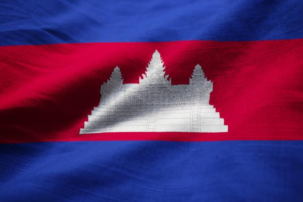 ruffled flagge von kambodscha weht im