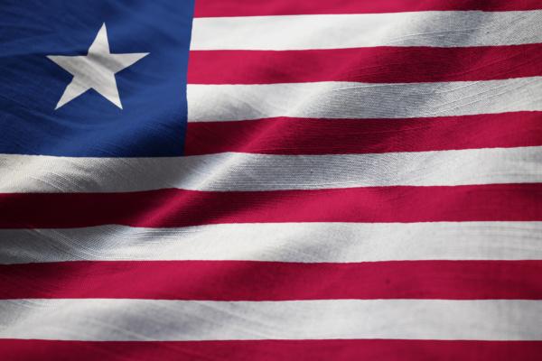 closeup, of, ruffled, liberia, flag, , liberia - 28312387