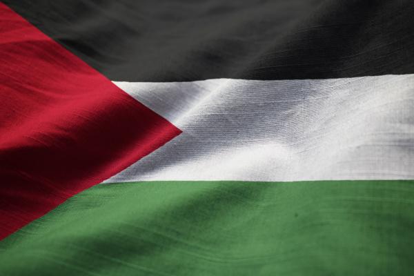 nahaufnahme der zerkruemelten palaestinensischen flagge palaestinensische