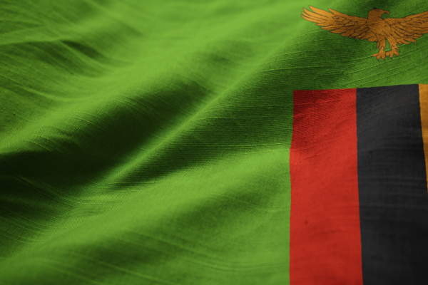 nahaufnahme von ruffled sambia flagge sambia