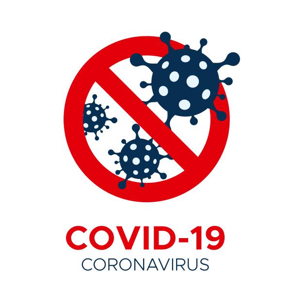 coronavirus covid 19 vektorverbotsschild flach