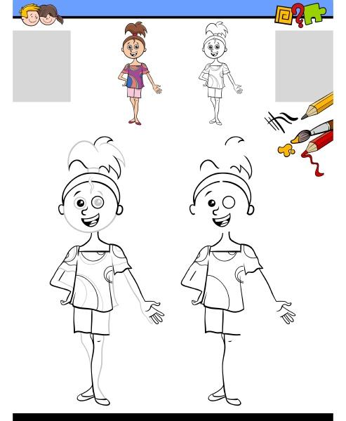 zeichnung und faerbung aufgabe mit maedchen