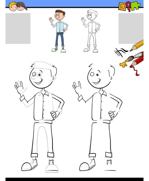 zeichnungs und faerbungsaufgabe mit jungem