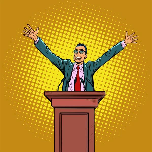 gluecklicher politiker auf dem podium