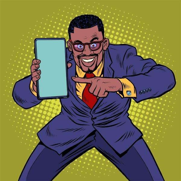 afrikanischen geschaeftsmann zeigt auf dem smartphone