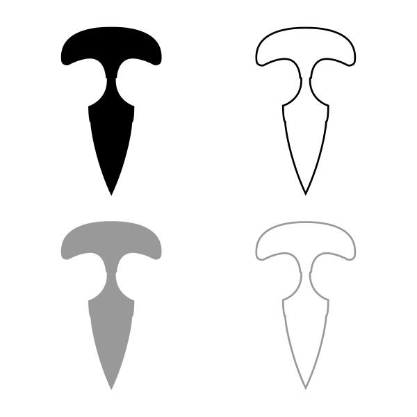 knuckles messer icon umriss set schwarz